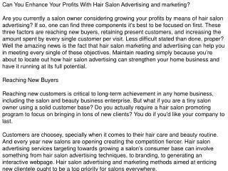Hair Salon Marketing