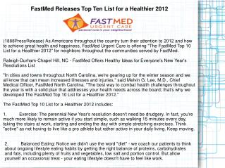 FastMed Releases Top Ten List for a Healthier 2012