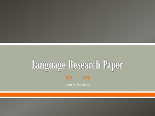 Language Research Paper