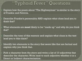 """Typhoid Fever"" Questions"