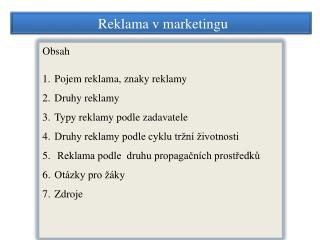 Reklama v marketingu