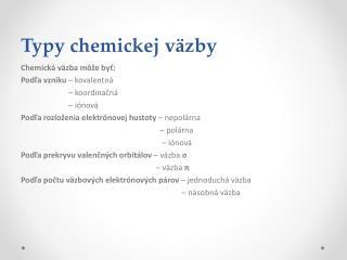 Typy chemickej väzby