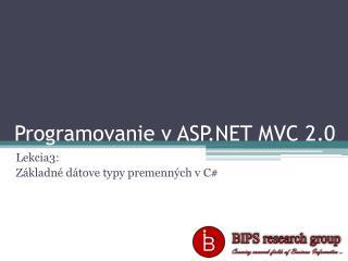 Programovanie v ASP.NET MVC 2.0