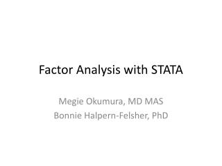 Factor Analysis with STATA