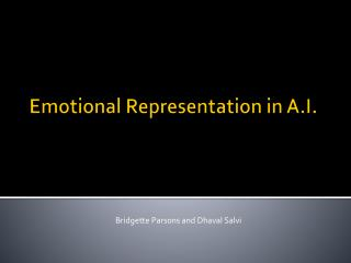 Emotional Representation in A.I.