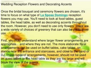 Wedding Reception Flowers and Decorating Accents
