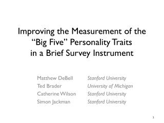 "Improving the Measurement of the ""Big Five"" Personality Traits  in  a Brief Survey Instrument"
