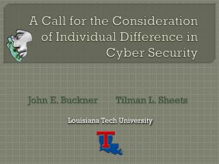 A Call for the Consideration of Individual Difference in Cyber Security