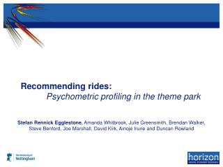 Recommending rides: Psychometric profiling in the theme park