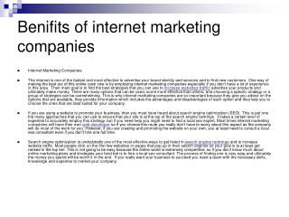Benefits of internet marketing companies