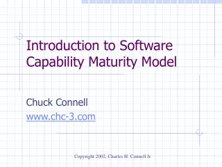 Introduction to Software Capability Maturity Model