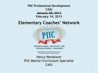 PIIC Professional Development  CAIU January 28, 2013 February 14, 2013 Elementary Coaches' Network