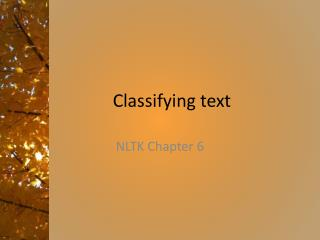 Classifying text