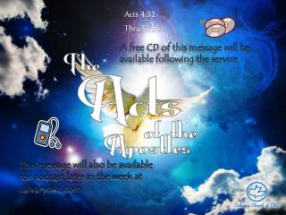 A free CD of this message will be available following the service