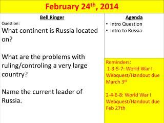 Ch  20: Russia -  1900 ->  Bolshevik Revolution -> Stalin