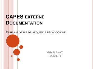 CAPES externe Documentation E preuve orale de séquence pédagogique