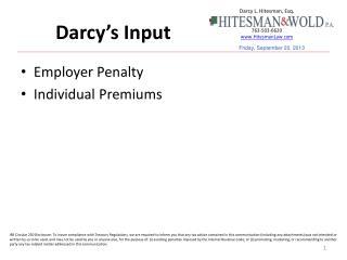 Darcy's Input