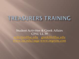 Treasurers  training