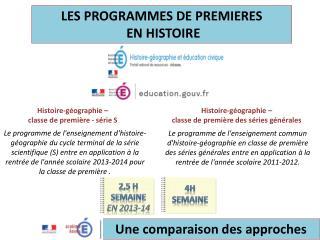 LES PROGRAMMES DE PREMIERES  EN HISTOIRE
