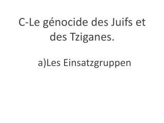 C-Le  génocide des Juifs et des Tziganes.