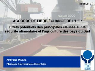 Ambroise MAZAL Plaidoyer Souveraineté Alimentaire