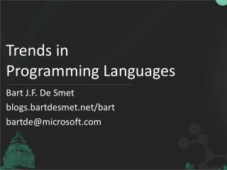 Trends in Programming Languages