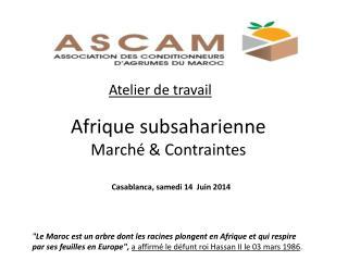 Afrique subsaharienne Marché & Contraintes