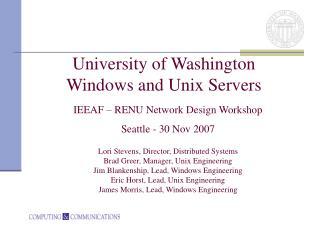 University of Washington Windows and Unix Servers