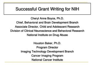 Successful Grant Writing for NIH