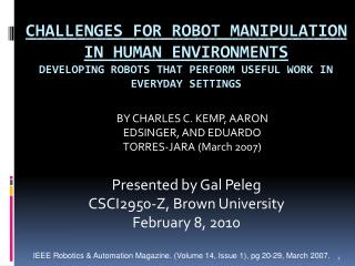 Challenges for Robot Manipulation in Human Environments