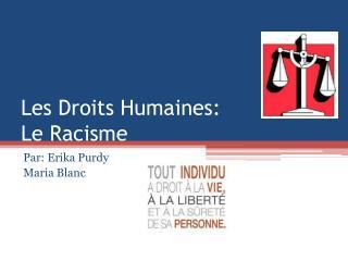 Les Droits  Humaines: Le Racisme