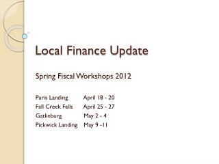 Local Finance Update