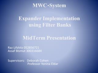 MWC-System Expander Implementation  using Filter Banks MidTerm  Presentation