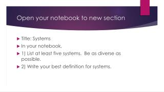 Open your notebook to new section