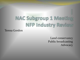 | NAC Subgroup 1 Meeting NFP Industry Review