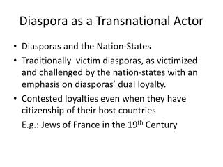 Diaspora as a Transnational Actor