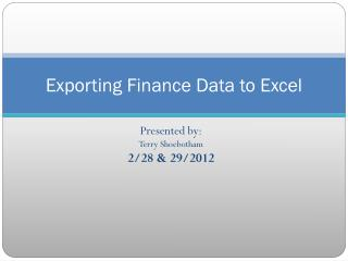 Exporting Finance Data to Excel