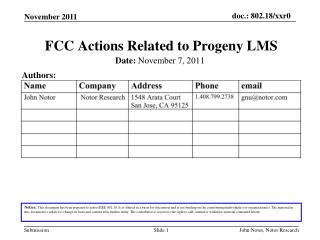 FCC Actions Related to Progeny LMS