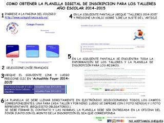 COMO OBTENER LA PLANILLA DIGITAL DE INSCRIPCION PARA LOS TALLERES AÑO ESCOLAR 2014-2015