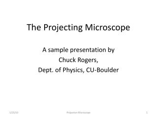 The Projecting Microscope