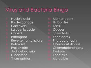 Virus and Bacteria Bingo