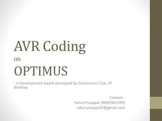 AVR Coding on  OPTIMUS