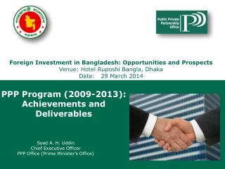 Presentation to The Hon'ble Prime Minister June 19, 2013