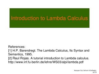 Introduction to Lambda Calculus
