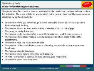 University of Derby PReSS  – Understanding Your Students