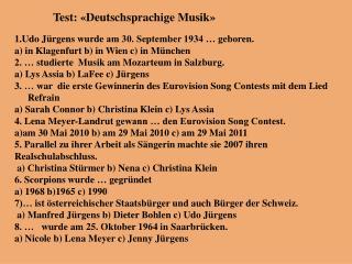 Test : « Deutschsprachige Musik »