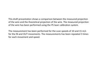 This draft presentation shows a comparison between the measured projection