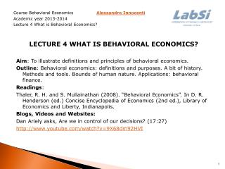 Course Behavioral Economics Alessandro Innocenti  Academic year  2013-2014