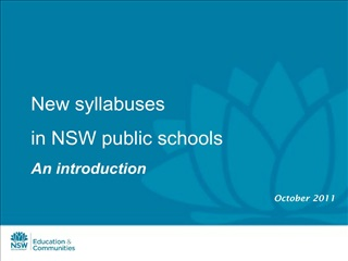 New syllabuses in NSW public schools An introduction