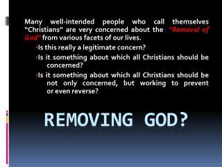Removing god?